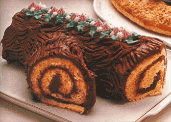 Christmas Yule Log Cake, Nativity Scene Outdoor